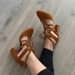 Halogen Caramel Suede Lace-up Block Heels